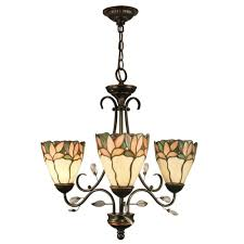 dale tiffany crystal leaf 3 light antique bronze chandelier with art glass shades