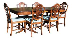 Thomasville Hepplewhite Duncan Phyfe Mahogany Dining Set Table - Shield back dining room chairs