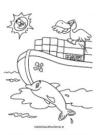 Kleurplaat Zeevaarder Dolfijn Meeuw Vervoer