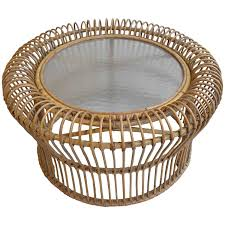 italian rattan coffee table in style of franco albini for at round glass 3248 with