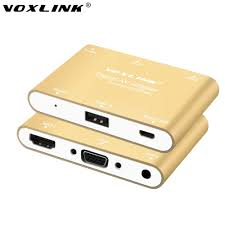 voxlink 3 in 1 digital av adapter usb to hdmi vga audio converter for iphone 6s plus ipad samsung ios android windows in hdmi cables from consumer