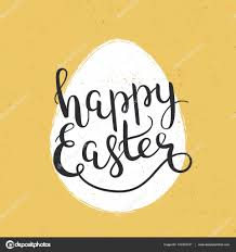 Happy Easter Hand Drawn Lettering Decoration Text Template