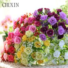 21 heads bunch silk mini rose artificial flower bouquet decorative flower for wedding home decoration party brithiday decor canada 2018 from galry