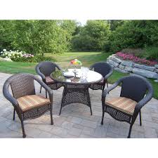 white resin wicker patio chairs. Oakland Living Elite Resin Wicker 5 Piece Patio Dining Set With Cushions White Chairs