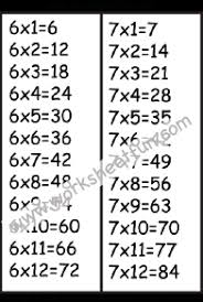 16 Times Table Chart Times Table Chart 6 7 Free Printable Worksheets