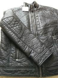 nwt 395 calvin klein sherpa lined faux pebbled leather moto jacket black sz m