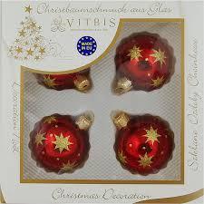 Vitbis Weihnachtskugeln Glas ø 6 Cm 4 Stück Dekor Sterne Bordeaux Gold