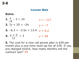 2 8 solving two step equations solve 1 3 10