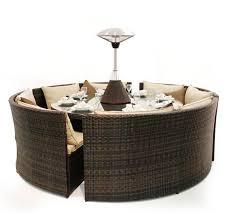 dallas rattan round dining sofa set 12 seater
