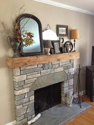 wood beam fireplace mantel