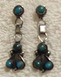 vintage navajo sterling silver turquoise cer chandelier earrings 1 of 1only 1 available