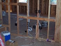 building a home low voltage and other home wiring a low voltage scoop will be installed here the 5 1 surround sound system is also being set up in this room