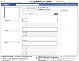 facebook page template for students facebook profile page template federalist anti federalist by