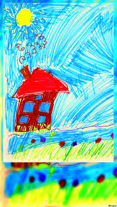 Download Free Picture Childs Drawing House Blank Citation Card On