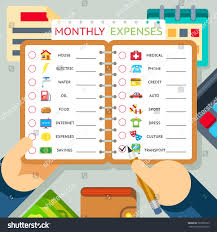 Expense And Income Template Monthly Expenses Costs Income Infographics Template Stock Vector