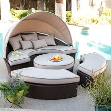 conversation patio sets living rendezvous all weather wicker sectional daybed patio furniture conversation sets with fire pit