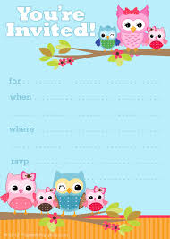 printable birthday party cards invitations for kids to make printable owl party invitation template colorful owl baby girl shower invitation unique handmade owl baby girl shower invitation