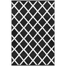 diamond black white lightweight indoor outdoor reversible plastic rug