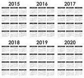 2015 2020 Calendar Stock Vector Illustration Of 2020