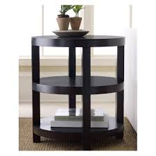 round espresso end table solid oak construction 3 level system and comfortable round design