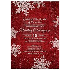 Christmas Holiday Invitations Red White Velvet Look Snowflake Winter Holiday Corporate Party Invitation