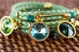 la hola bracelet genuine swarovski crystals italian leather artisan jewelry handmade in israel free domestic shipping