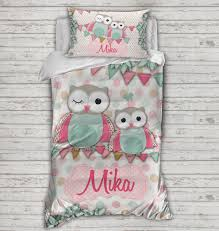 Personalised Kids Quilt Covers - SPATZ Mini Peeps® & ... kids childrens quilt cover matching pillowcase with name owls Adamdwight.com
