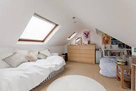 low attic loft bedroom with chevron