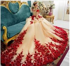 Red <b>Romantic Princess Wedding</b> Gowns Floral Appliques Cap ...