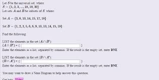 Venn Diagram Empty Set Solved Let S Be The Universal Set Where S 1 2 3