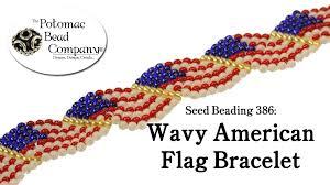 Seed Bead Patterns Stunning Seed Beading 48 Wavy American Flag Bracelet YouTube