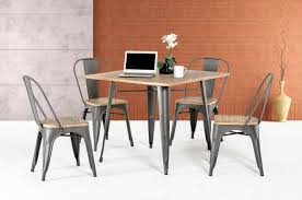 metal and wood dining table. Square Light Brown Wooden Table Top With Four Gray Steel Legs Combined Chairs Metal And Wood Dining