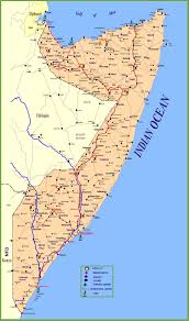 large detailed map of somalia with cities and towns