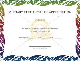 Military Certificate Templates Military Certificate Of Appreciation Template Certificate Template 4