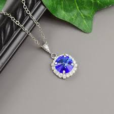 sapphire blue necklace swarovski crystal pendant necklace cobalt blue bridesmaid necklace sapphire necklace silver bridal jewelry