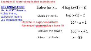 example 5 more complicated expressions key knowledge you always have to isolate the log