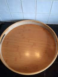 relaxdays round bamboo serving tray raised edge food tray cut out handles