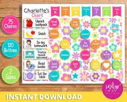 Child Reward Chart Instant Download Behavior Chart For Child Daily Routine Chore Chart Kids Reward Chart