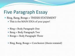the four paragraph essay ppt video online  five paragraph essay bing bang bongo thesis statement