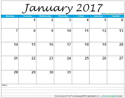 January Calendar 2017 Template