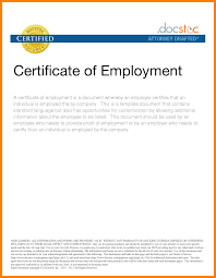 Employment Certificate Template Newfangled Sample From Employer 11 7