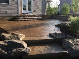 stamped concrete patio with fire pit cost. #1 Brown Travertine Stamped Concrete Patio With Fire Pit Cost