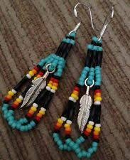 navajo bead designs. Navajo Native American Beaded Turquoise Feather Earrings Bead Designs