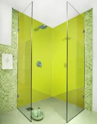 chartreuse colour acrylic shower wall panels