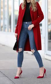 how to wear a bold red coat red coat and red pumps