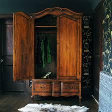 Antique Wood Large Freestanding Wardrobe Closet With Hanger Rod ...