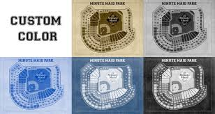Vintage Print Of Minute Maid Park Seating Chart Houston Astros Baseball Blueprint On Photo Paper Matte Paper Or Stretched Canvas