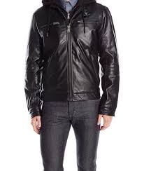 lucky brand men s archibald faux leather moto jacket black large hooded