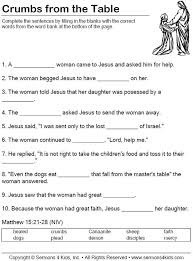 Faith of the Canaanite Woman | Worksheet - children fill in the ...