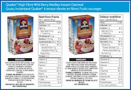 quaker high in fibre wild berry medley instant oatmeal